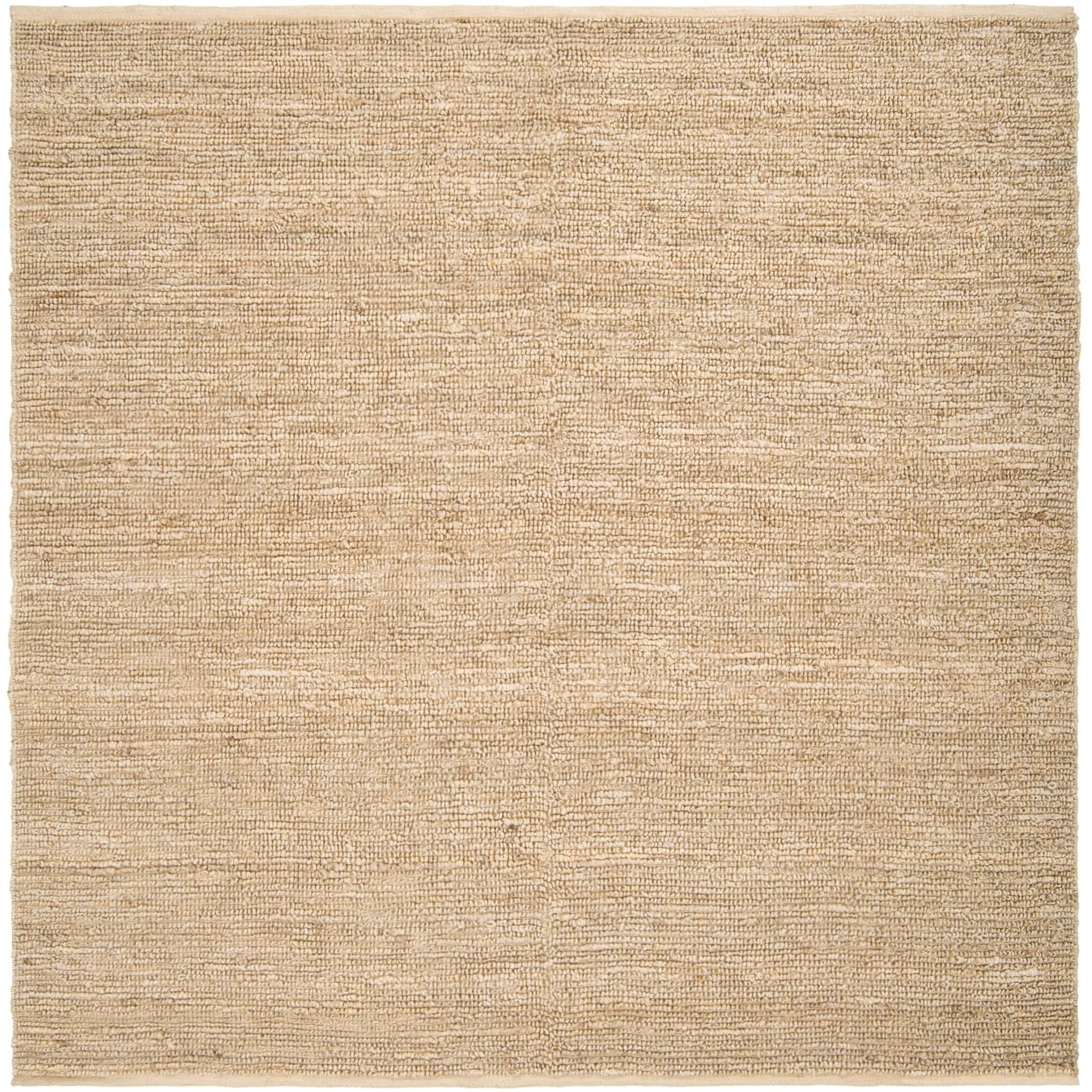 Hand Woven Beige Jawfish Natural Fiber Jute Rug 8 Square