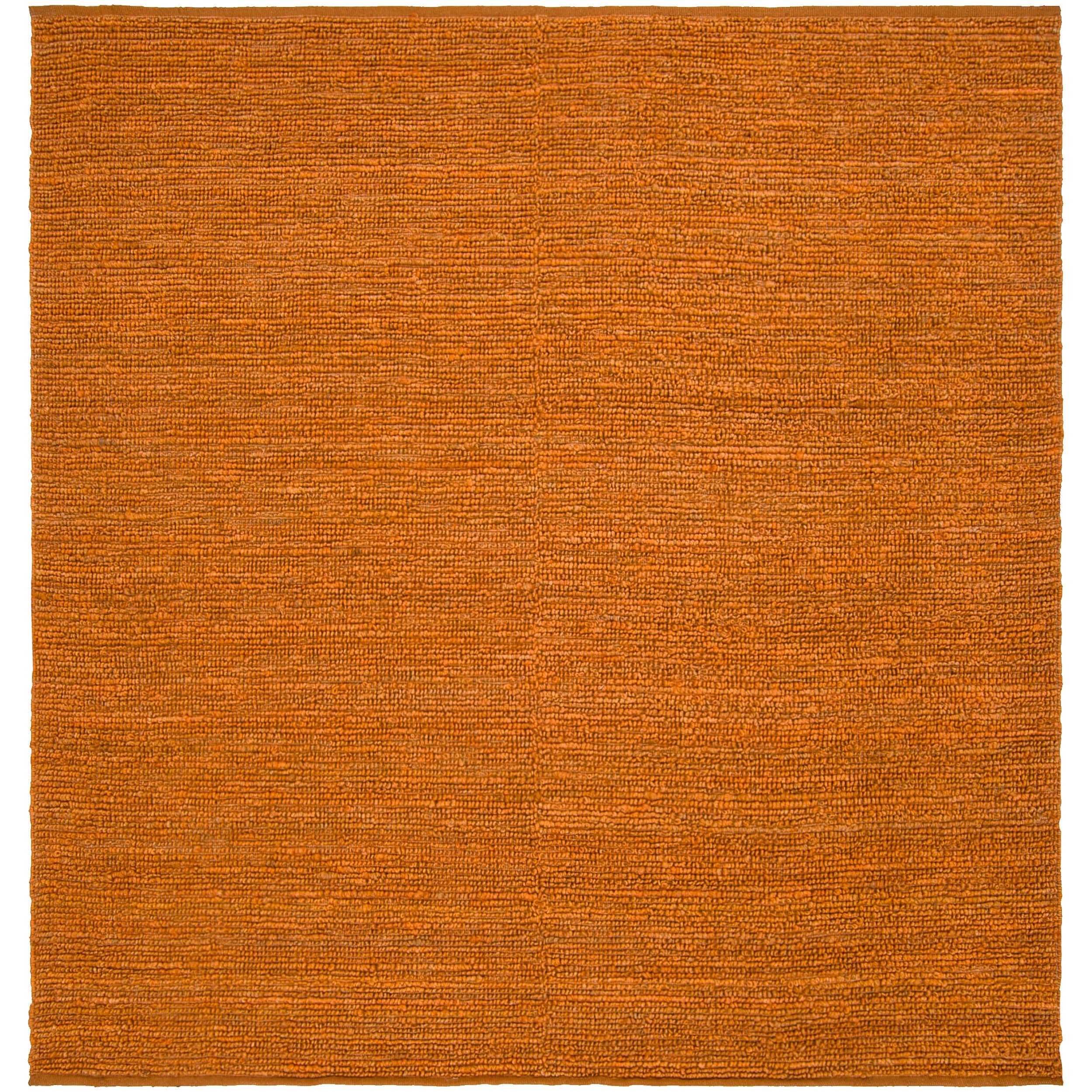 Hand-woven Orange Scorpione Natural Fiber Jute Rug (8' Square)