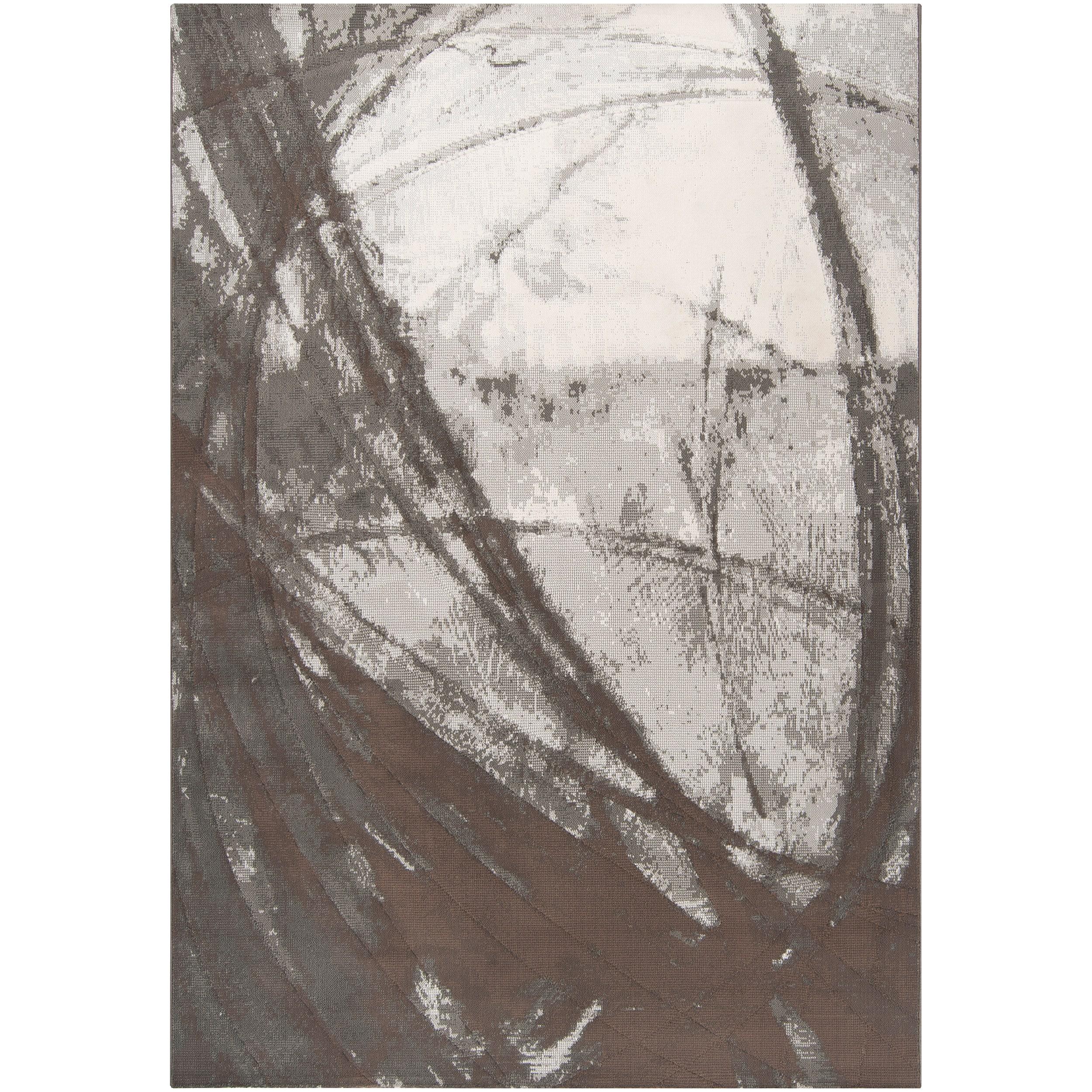 Meticulously Woven Grey Arowana Abstract Rug (5'3 x 7'6)