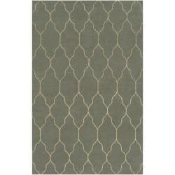 Hand-knotted Green Abu Wool Area Rug (5' x 8') - Thumbnail 0