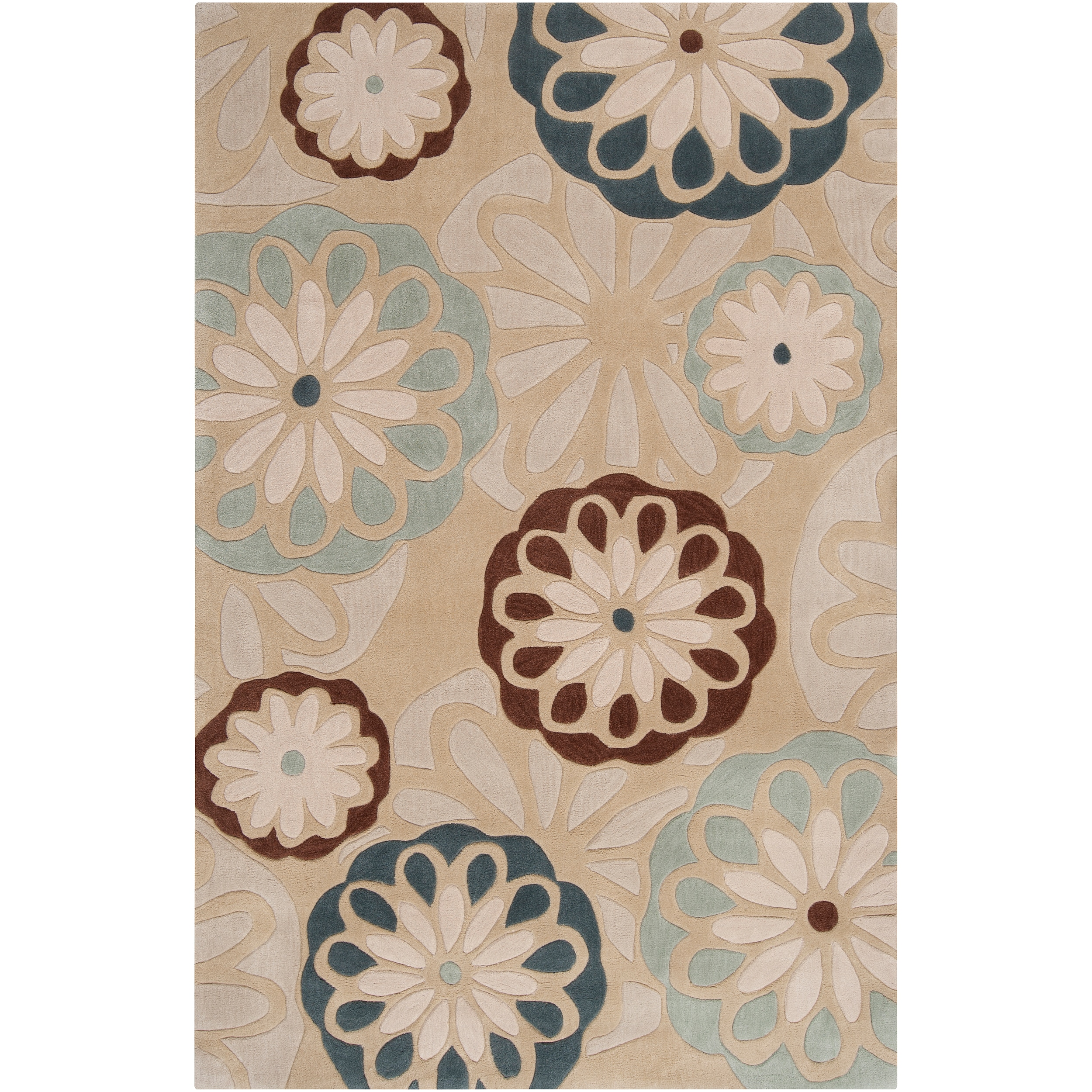Hand-tufted Contemporary Tan Filefish Abstract Rug (9' x 13')