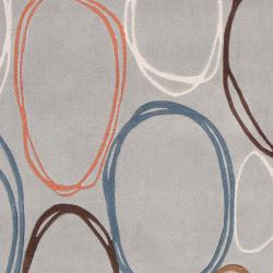 Hand-tufted Contemporary Grey Dragonets Geometric Circles Abstract Rug (8' x 11')