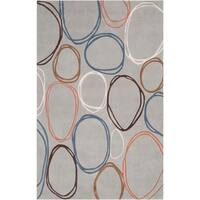 Hand-tufted Contemporary Grey Dragonets Geometric Circles Abstract Area Rug - 5' x 8'