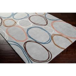 Hand-tufted Contemporary Grey Dragonets Geometric Circles Abstract Rug (3'6 x 5'6) - Thumbnail 2