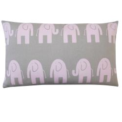 Jiti Kids Pink and Grey Elephant-print Rectangle Decorative Pillow - Thumbnail 0