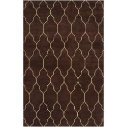 Hand-knotted Brown Mallard Wool Rug (8' x 11')