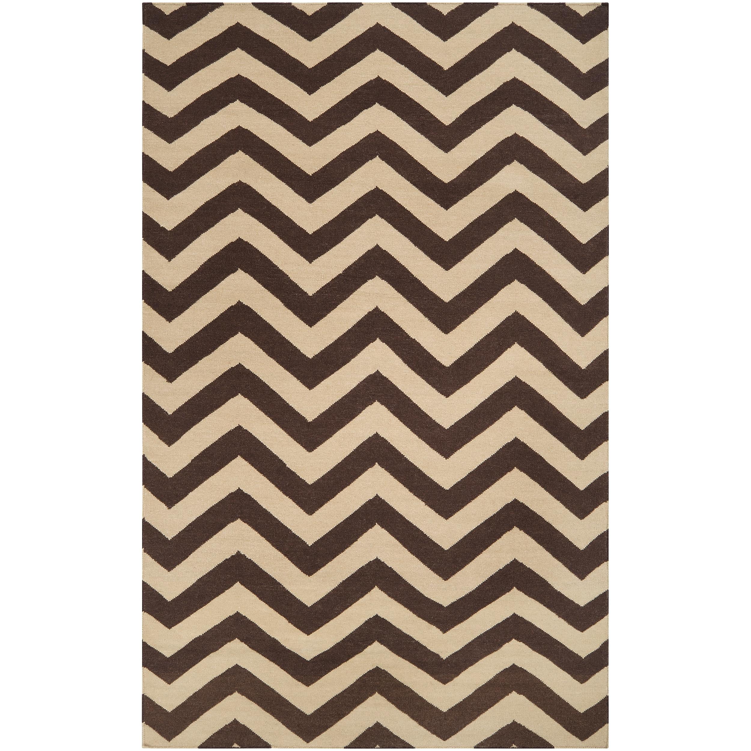Hand-woven Brown Wool Barringer Rug (3'6 x 5'6)