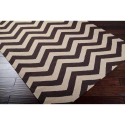 Hand-woven Brown Wool Barringer Rug (3'6 x 5'6) - Thumbnail 1
