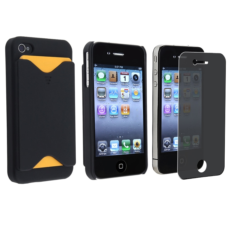 BasAcc 2-piece  Case w/ Card Holder/ Privacy Filter for Apple iPhone 4