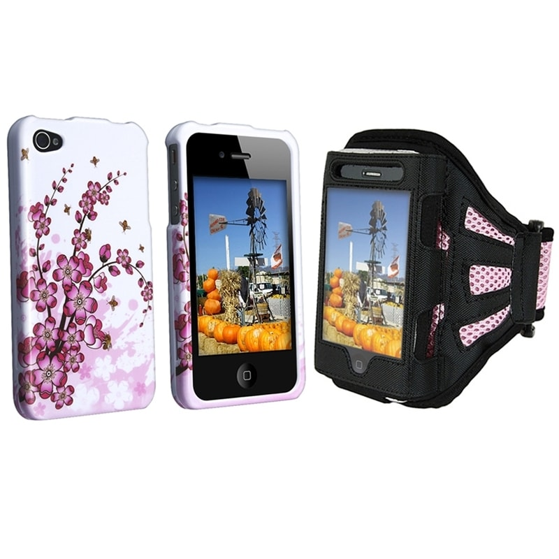 INSTEN Flower-Pattern Two-Piece Set Armband/ Phone Case Cover for Apple iPhone 4