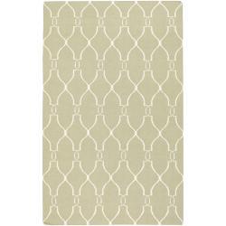 Hand-woven Ephesus Light Sage Flatweave Wool Rug (9' x 13')