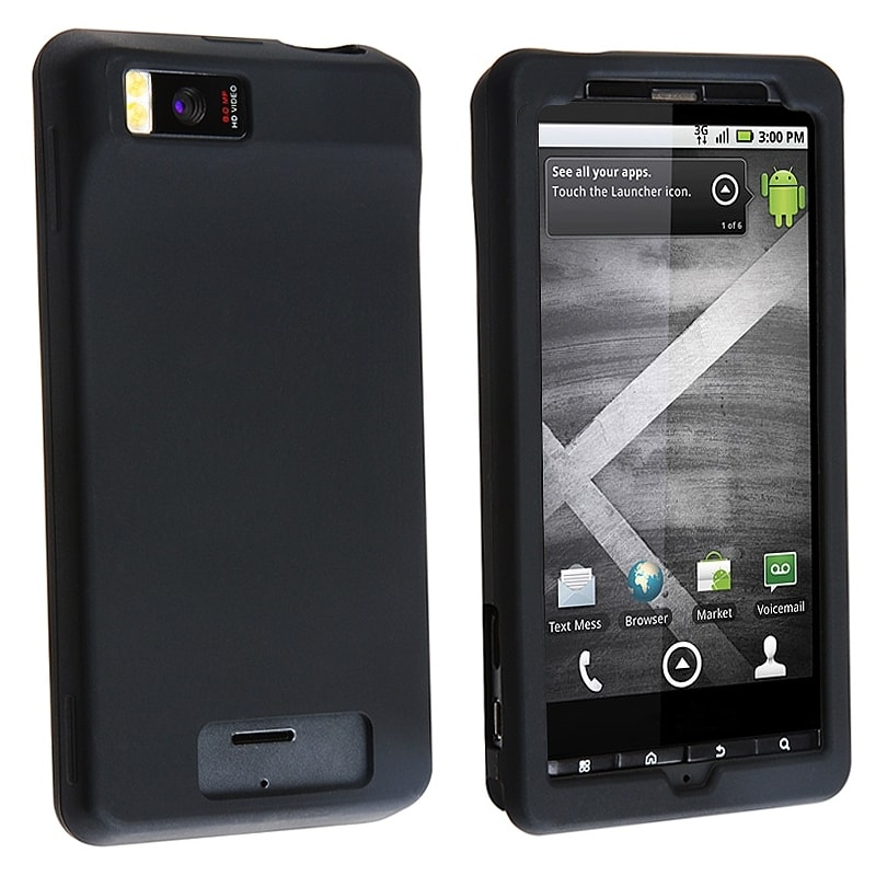 INSTEN Black Soft Silicone Skin Phone Case Cover for Motorola Droid Xtreme/ Droid X