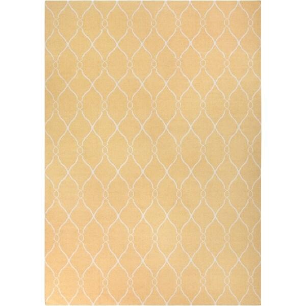 Hand-woven Babylon Sunflower Yellow Flatweave Wool Area Rug - 9' x 13'
