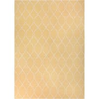 Hand-woven Babylon Sunflower Yellow Flatweave Wool Area Rug - 9' x 13'