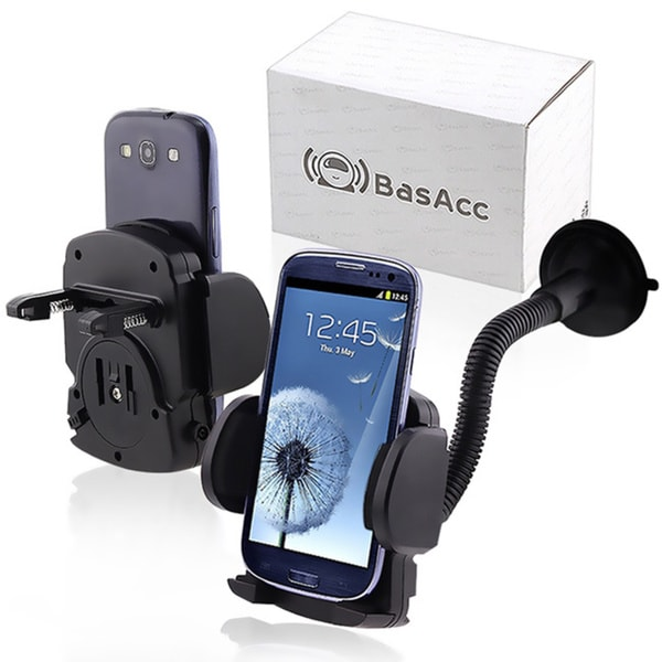INSTEN Universal Windshield Mount Holder for Apple iPhone 5S/ SE/ 6/ 7/ 7S Plus, Samsung Galaxy 5/ S6 Edge, HTC, LG, Motorola