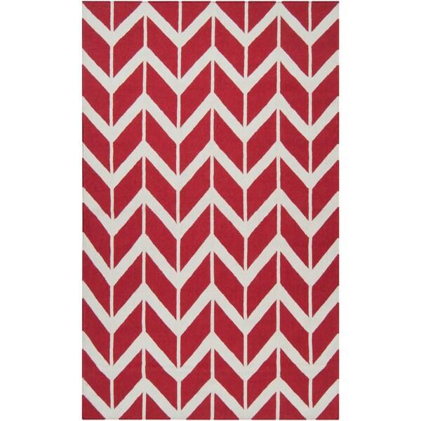 Hand-woven Red Sasquatch Wool Rug (5' x 8')