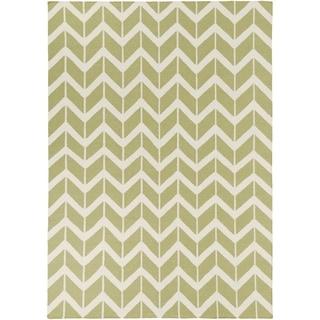 Hand-woven Green Dikotter Wool Area Rug - 8' x 11'
