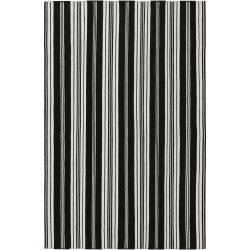 Hand-woven Black Aristotle Wool Area Rug (5' x 8') - Thumbnail 0