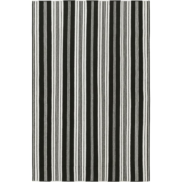 Hand-woven Black Aristotle Wool Area Rug - 5' x 8'