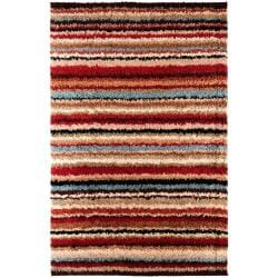 Woven Red Barb Stripe Shag (1'11 x 3'3)