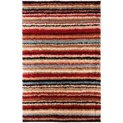 Woven Red Barb Stripe Shag Area Rug (1'11 x 3'3)