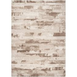 Meticulously Woven Beige Axoloti Abstract Rug (5'3 x 7'6)