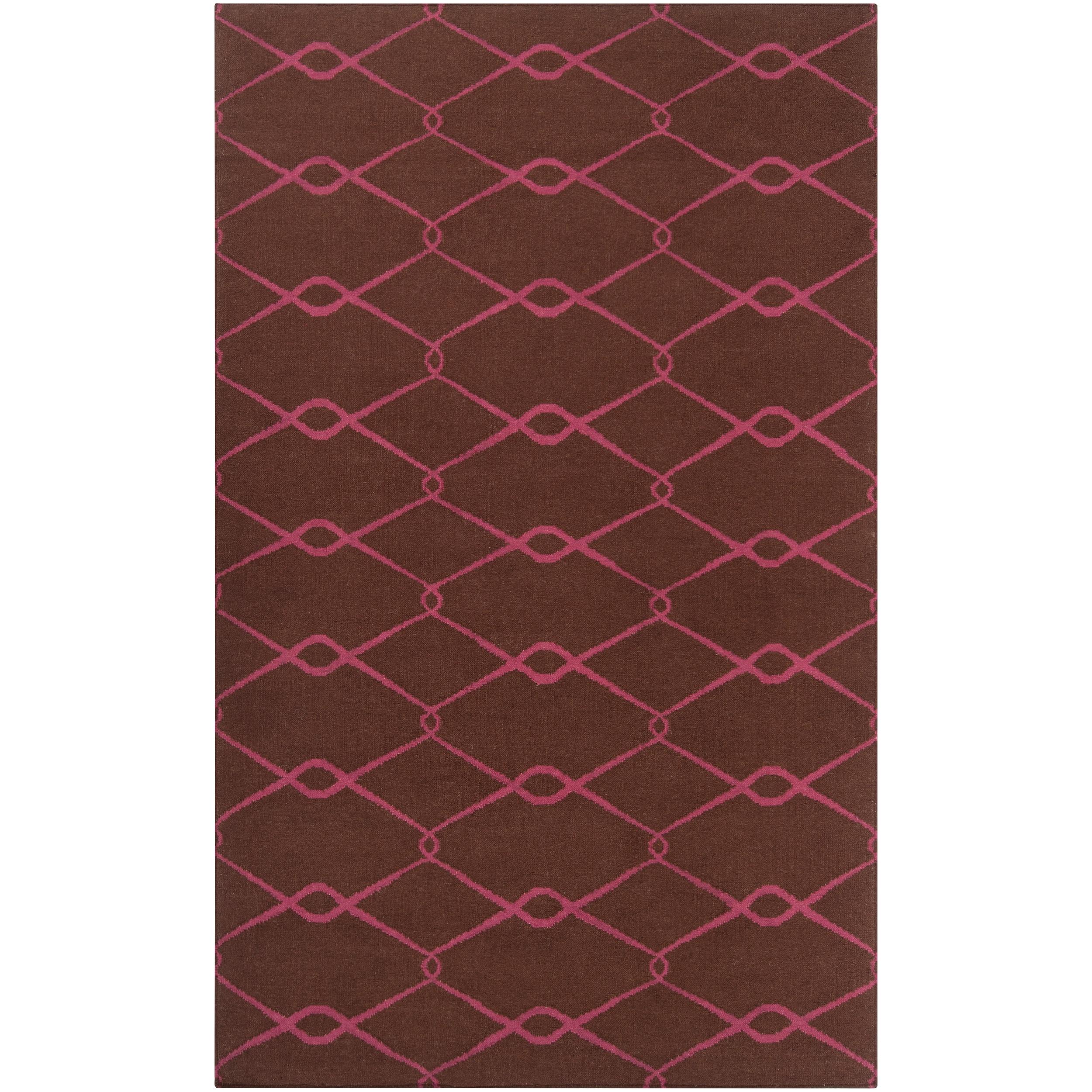 Hand-woven Pink Yehren Wool Rug (5' x 8')