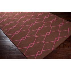 Hand-woven Pink Yehren Wool Rug (5' x 8') - Thumbnail 1