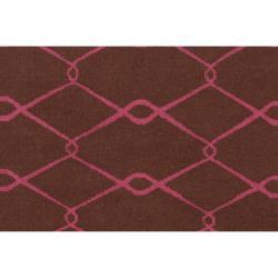 Hand-woven Pink Yehren Wool Rug (5' x 8') - Thumbnail 2