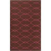 Hand-woven Pink Yehren Wool Area Rug (5' x 8')