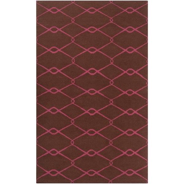 Hand-woven Pink Yehren Wool Area Rug - 5' x 8'