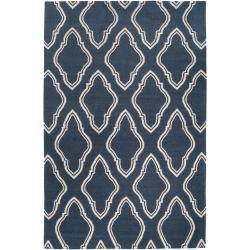 Hand-woven Blue Loch Wool Rug (8' x 11')