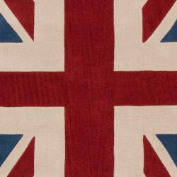 Hand-tufted Contemporary Union Jack Red Pipefish Abstract Rug (8' x 11') - Thumbnail 1