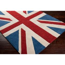 Hand-tufted Contemporary Union Jack Red Pipefish Abstract Rug (8' x 11') - Thumbnail 2