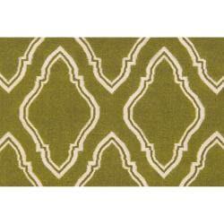 Jill Rosenwald Hand-woven Green Yeti Wool Rug (8' x 11')