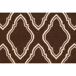 Hand-woven Brown Masai Wool Rug (5' x 8')