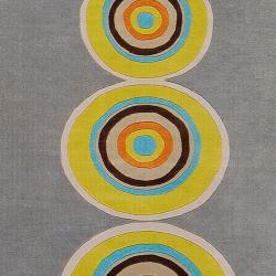 Hand-tufted Contemporary Multi Colored Circles Geometric Seriah New Zealand Wool Rug (3'3 x 5'3) - Thumbnail 2