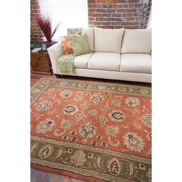 Hand-tufted Orange Potter Wool Rug (4' x 6')