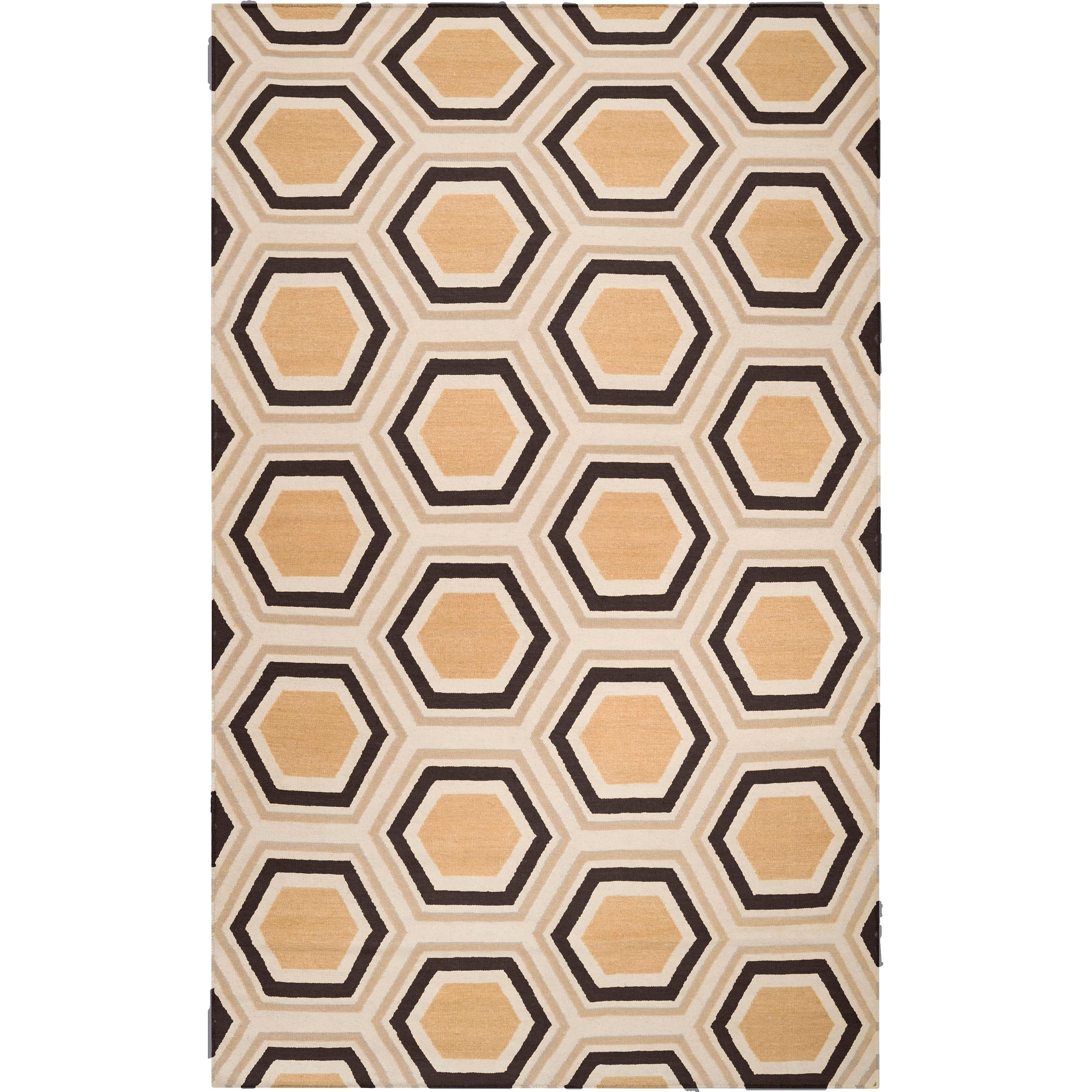 Hand-woven Black Potala Wool Rug (3'6 x 5'6)