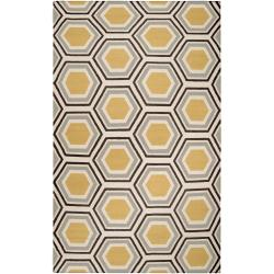 Hand-woven Grey Redeemer Wool Rug (5' x 8')