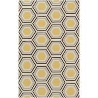 Hand-woven Grey Redeemer Wool Area Rug - 5' x 8'