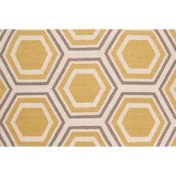 Hand-woven Yellow Petra Wool Rug (3'6 x 5'6) - Thumbnail 2