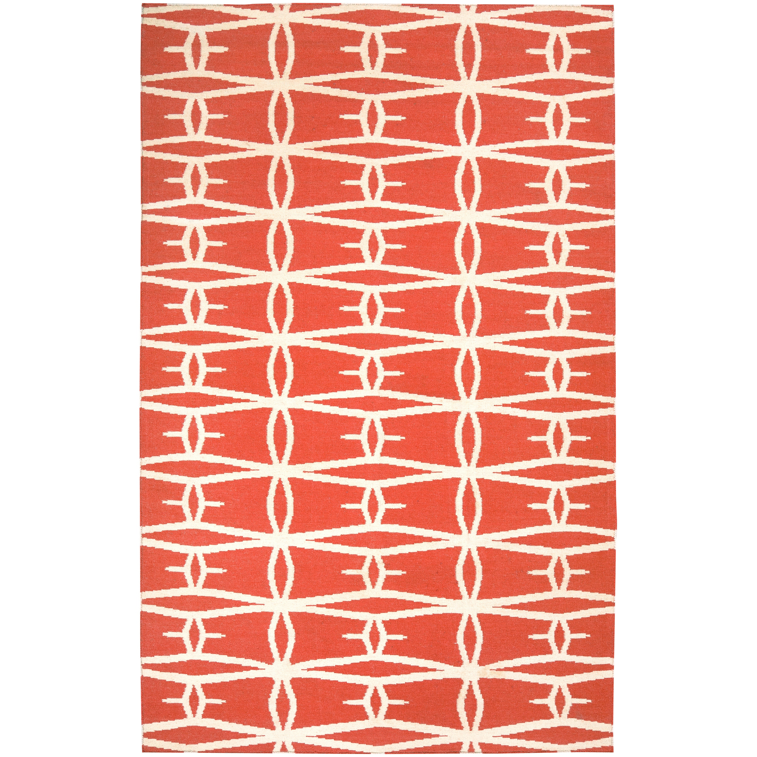 Hand-woven Orange Derze Wool Rug (5' x 8')