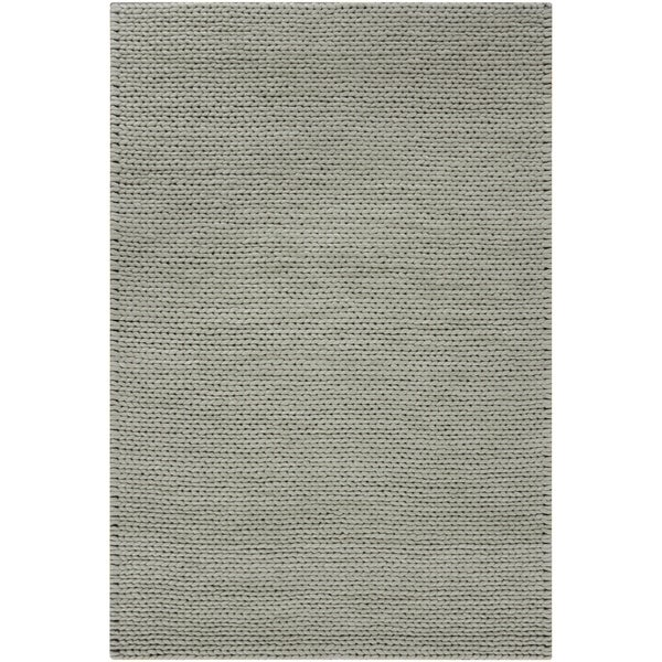 Hand-woven Gray Descartes New Zealand Wool Soft Braided Texture Area Rug - 5' x 8'