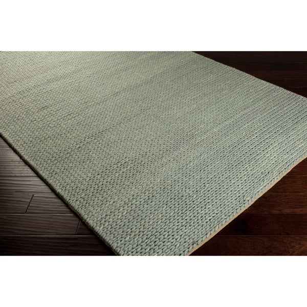Hand-woven Gray Descartes New Zealand Wool Soft Braided Texture Rug (5' x 8')
