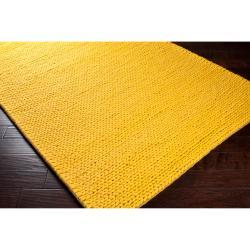 Hand-woven Yellow Vinci New Zealand Wool Soft Braided Texture Rug (8' x 10')