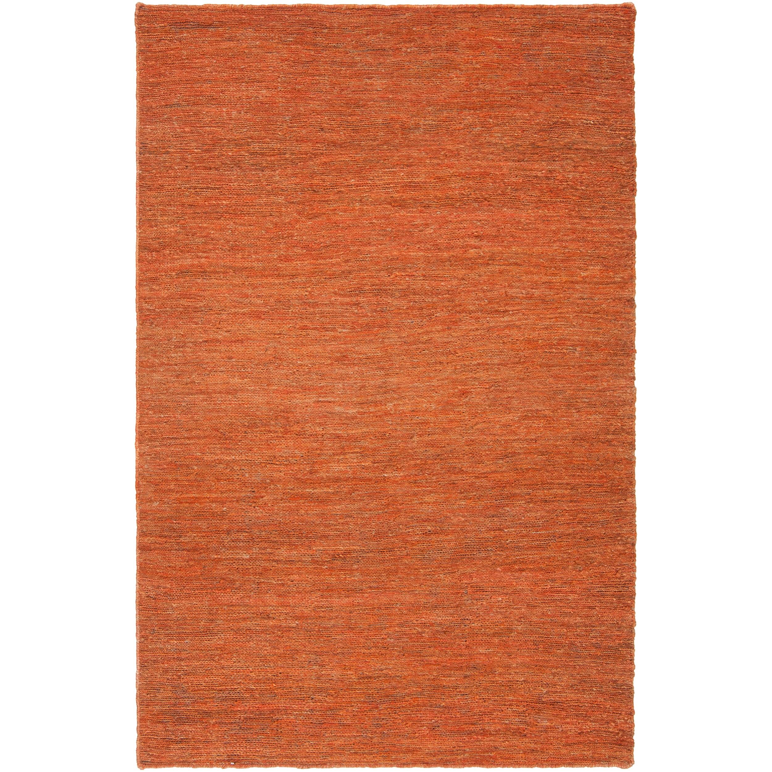 Hand-woven Orange Mozzy Natural Fiber Hemp Rug (3'3 x 5'3)
