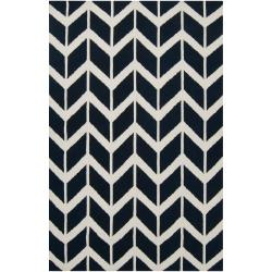 Hand-woven Navy Backoo Wool Rug (8' x 11')