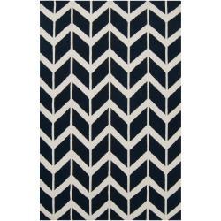 Hand-woven Navy Backoo Wool Rug (3'6 x 5'6)