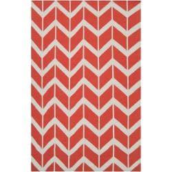 Hand-woven Orange Abada Wool Rug (8' x 11')